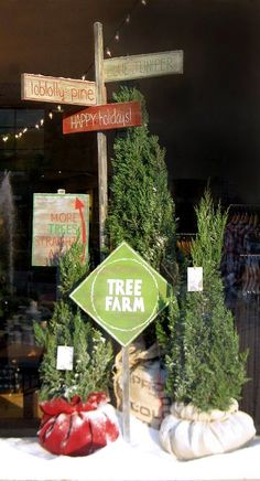 Make an area outside with lighted potted plants, decorated mailbox and sign for North Pole, Bethlehem, Home, Merry Christmas, Silent Night, Happy New Year - Make it look like and old fashioned tree lot!