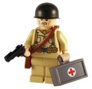 WW2 Lego American Medic, custom minifig created using Lego body parts plus custom helmet, medic case and pistol.