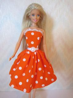Handmade Barbie clothes  orange and white by TheDesigningRose, $7.00