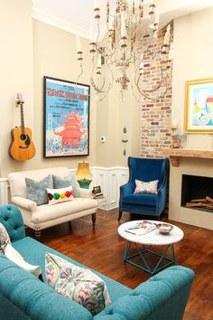 I love the eclectic and fun vibe. Eclectic Living Room by Estrada Design Consulting