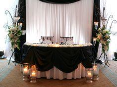 white drape head table