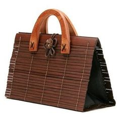 401f62765bb3fd Hand Made Brown Bamboo Wood Lady s Bag MEDIUM Size French Connection  Handbags