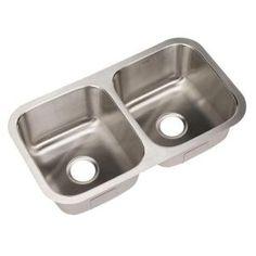 HOUZER Eston Series Undermount 31-1/4x17-3/4x9 0-Hole Double Bowl Kitchen Sink-STD-2100 at The Home Depot