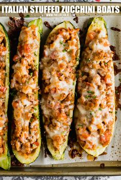 Italian Stuffed Zucchini Boats are the healthy weeknight meal you'll want to make again and again. This is a seriously easy recipe that's full of delicious flavor without all the guilt! Zucchini Dinner Recipes, Zuchinni Recipes, Vegetable Recipes, Beef Recipes, Cooking Recipes, Healthy Recipes, Stuffed Zucchini Recipes, Stuffed Shells Recipe, Recipes