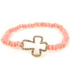 Coral/Gold Rhinestone Cross Bracelet