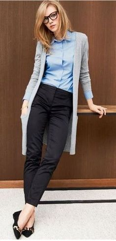 office style addcit / cardigan + shirt + pants + loafers #dressescasual
