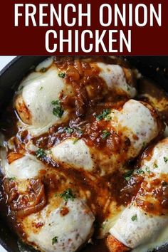 Onion Chicken By Skillet Chicken with Buttery Caramelized. -French Onion Chicken By Skillet Chicken with Buttery Caramelized. Chilli Chicken Recipe, Chicken Parmesan Recipes, Chicken Salad Recipes, Healthy Crockpot Recipes, Healthy Chicken Recipes, Cooking Recipes, Onion Recipes, Chicken Meals, Cooking Tips