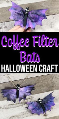 These Coffee Filter Bats are a cute Fun Halloween crafts for kids! These coffee filter bats are an easy Halloween craft for kids of all ages to make. They take about 20 minutes and use craft supplies you probably already have in your house. Theme Halloween, Easy Halloween Crafts, Fall Crafts For Kids, Fall Halloween, Holiday Crafts, Holiday Fun, Craft Kids, Halloween Projects, Kids Fun