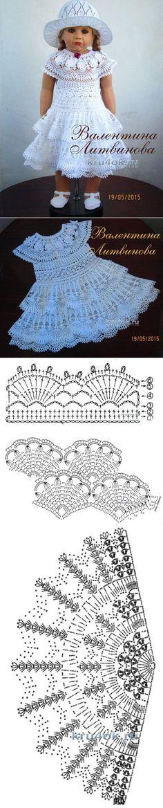 Платье, шляпка и пояс для девочки — работы Валентины Литвиновой - вязание крючком на kru4ok.ru