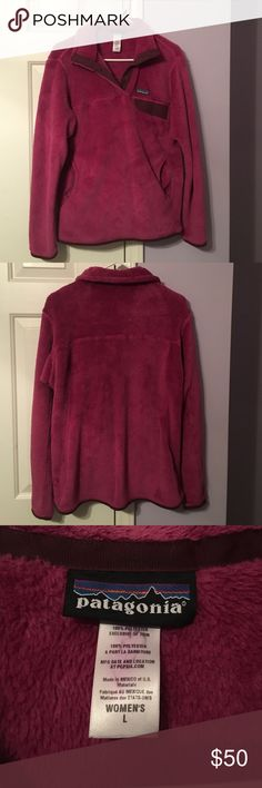 W Patagonia Re-Tool Snap-T Fleece Pullover size L Gently used women's Patagonia Re-Tool Snap-T Fleece pullover in size Large. No signs of wear or tear besides color stain on inside tag from first wash. Only worn twice. Patagonia Jackets & Coats