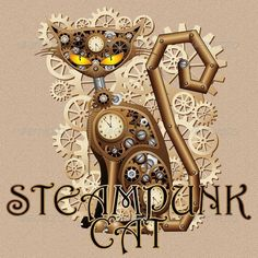 Buy Steampunk Cat Vintage Style by Bluedarkat on GraphicRiver. Steampunk Style Cat, looking like a mechanical Vintage Toy – Beige Background and Fonts are not included /// Includes. Arte Steampunk, Steampunk Design, Steampunk Animals, Cat Clock, Brown Cat, Cat Facts, Cat Drawing, Beige Background, Vector Art