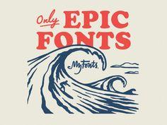 My Fonts Surf Ads designed by Himanshu Sharma. the global community for designers and creative professionals. Surf Design, Ad Design, Logo Design, Graphic Design, Vintage Waves, Vintage Surf, Ocean Font, Instagram Feed Layout, Surf Logo
