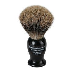 Taylor of Old Bond Street Badger Shaving Brush - Black Large - Pure Badger Shaving Brushes - Shaving Brushes