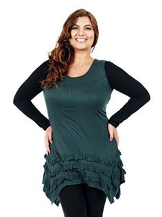 Aster by Firmiana Plus Women's Ruffle Trim Tunic (Hunter Green)