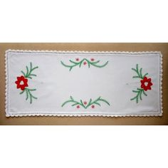 Hand-embroidered Christmas table runner, small tablecloth embroidery for the holidays Embroidery Online, Vintage Pillow Cases, Hungarian Embroidery, Christmas Embroidery, Decor Crafts, Christmas Crafts, Valentines, Handmade Gifts, Tablecloths