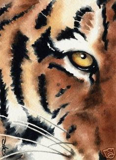Tiger Art Print - Watercolor Painting - Signed by Artist DJ Rogers - Wildlife - Wall Decor Watercolor Tiger, Watercolor Animals, Painting & Drawing, Watercolor Paintings, Watercolors, Flora Und Fauna, Art Aquarelle, Tiger Art, Tiger Tiger
