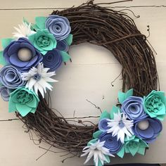 A personal favorite from my Etsy shop https://www.etsy.com/listing/519361842/felt-flower-wreath-grapevine-wreath-door