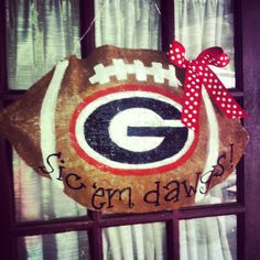 UGA BURLAP FOOTBALL