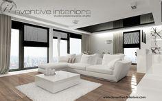 Projekt salonu z aneksem Inventive Interiors - biel i drewno w salonie - czarny sufit