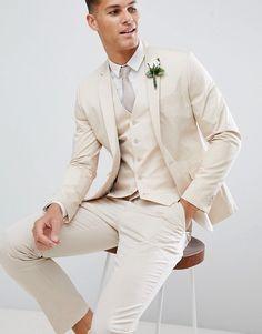wedding suits men ASOS DESIGN wedding skinny suit jacket in stretch cotton in stone Casual Wedding Suit, Wedding Attire, Beige Suits Wedding, Wedding Tuxedos, Wedding Dress, White Tuxedo Wedding, Skinny Suits, Linen Suit, Groom Attire