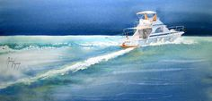 Martine Vanparijs   WATERCOLOR Motor Boats, Canoe, Marines, Nautical, Sailing, Watercolor, Lighthouses, Ships, Paintings