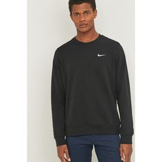 Nike Club Black Crewneck Sweatshirt (€45) ❤ liked on Polyvore featuring men's fashion, men's clothing, black, nike mens clothing, nike mens apparel, j crew mens clothing and mens sports apparel