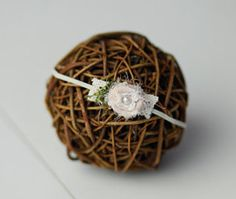 White Chiffon flower newborn headband by CrownedCreationsShop