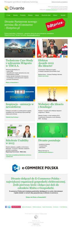 Newsletter Divante to znakomity przykład na email marketing z ciekawymi treściami. Nowy odswieżony układ szablon pozwala na szybkie zapoznanie się z informacjami na temat działań firmy. O Sendingo też wspomnieli :)