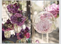 Hang some of the main flowers in the glass hangers to match the succulents and candles