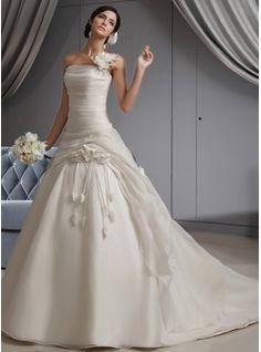 Ball-Gown Sweetheart Court Train Taffeta Tulle Wedding Dress With Ruffle Flower(s) (002011428) - JJsHouse