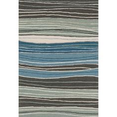 Hand-hooked Carolyn Grey/ Blue Stripe Rug (7'6 x 9'6) - Free Shipping Today - Overstock.com - 17610108 - Mobile