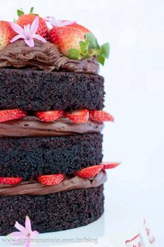 Chocolate cake with chocolate & strawberry filling