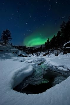 Night by The River… by Arild Heitmann. I want to see the Northern Lights so badly!