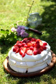 Summer Berry Layered Pavlova by Donal Skehan Pavlova Cake, Pavlova Recipe, Strawberry Pavlova, Delicious Desserts, Dessert Recipes, Dinner Party Desserts, Summer Berries, Summer Treats, Let Them Eat Cake