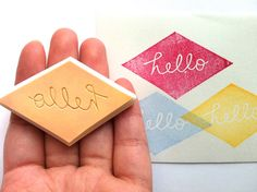 hello rubber stamp. designed and carved by talktothesun. available at www.talktothesun.etsy.com