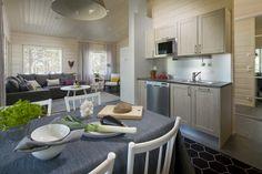 Kalajoen Loma-asuntomessut 2014 Log Homes, Interior, Kitchen, Table, House, Furniture, Home Decor, Timber Homes, Cooking