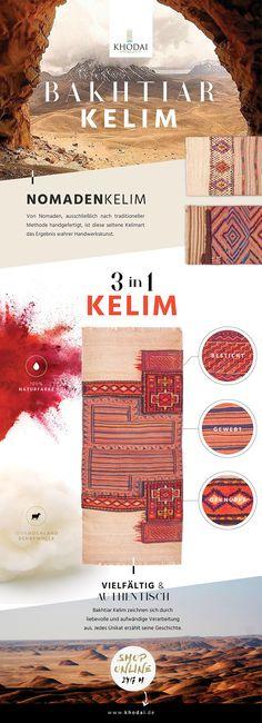 Nomadenkelim Webteppich Bakhtia - authentischer Nomadenteppich für außergewöhnliches Wohnen. KHODAI-Handmade Carpets