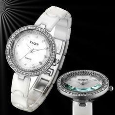 FW935B New Round PNP Shiny Silver Watchcase Women Generous Crystal Ceramic Watch