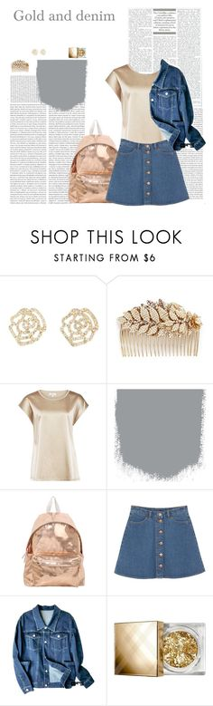 """""""Shining denim"""" by dory-speaks-whale ❤ liked on Polyvore featuring Oris, Charlotte Russe, Miriam Haskell, Reiss, Eastpak, Monki and Burberry"""
