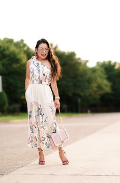 cute & little | dallas petite fashion blog | free people island culotte jumpsuit, steve madden carrson pink sandal heels, charming charlie pom earring | summer outfit