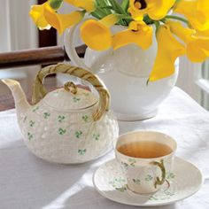 What a lovely teapot...  I don't need it; I just have to have it.  It looks like Beleek!