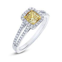 0.59ct Cushion Cut Center &..33ct Side 18k Two-tone Gold Natural Yellow Diamond Ring - Allurez.com