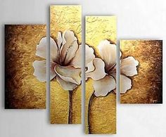 Home Decor - Wall Art - Oil Paintings - Floral Paintings - Hand-painted Floral Oil Painting with Stretched Frame - Set of 4 Oil Painting Flowers, Texture Painting, Art Floral, Mural Art, Art Pictures, Flower Art, Canvas Wall Art, Hand Painted, Modern Paintings