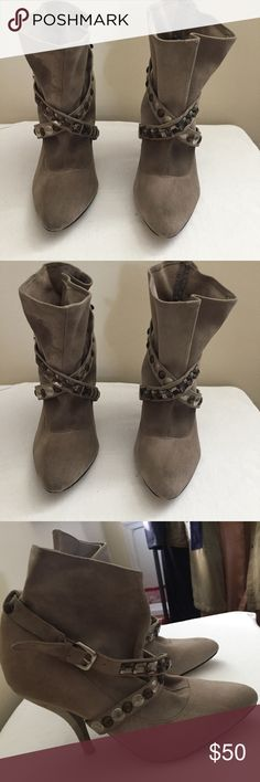 Suede Booties. Grey grunge suede booties with beading detail with slight imperfections. Great fall and winter shoe. In good condition overall. Steven By Steve Madden Shoes Ankle Boots & Booties