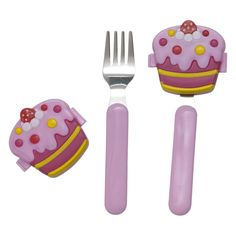 Girls Spoon and Fork with Cake Cover - Set of 2 - Rice A/S