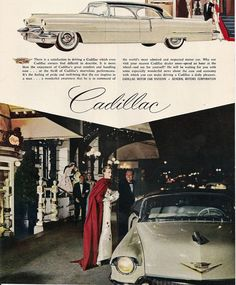 1956 Cadillac Ad -- can't make this location out, but it's probably a New York restaurant.