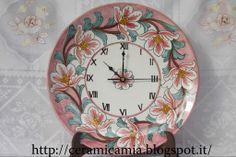 Plate - wall clock #ceramics #Italy #handpainted 32cm