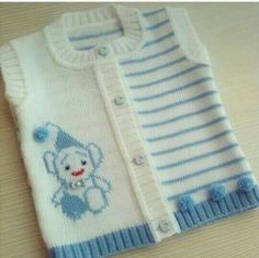 New knitting baby cardigan pattern boys Ideas Baby Cardigan Knitting Pattern, Crochet Jacket, Afghan Crochet Patterns, Baby Knitting Patterns, Baby Patterns, Vest Pattern, Baby Boy Vest, Baby Boys, Knit Baby Sweaters