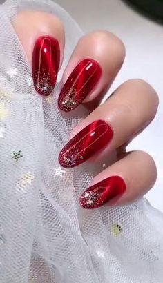 Nail Art Designs Videos, Cute Nail Art Designs, New Nail Designs, Nail Polish Designs, Beautiful Nail Designs, Red Nail Art, Red Acrylic Nails, Glitter Gel Nails, Pink Nails