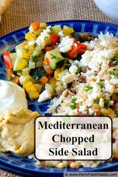 Done: Mediterranean Chopped Salad Concept Recipe. Tx veggies and sides Greek Recipes, Light Recipes, Real Food Recipes, Yummy Food, Recipe Using Asparagus, Mediterranean Dishes, Chopped Salad, Side Salad, Healthy Salad Recipes